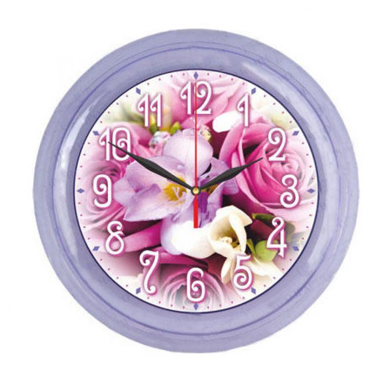Часы настенные Вега Сиреневый букет, цвет: букетП6-13-99