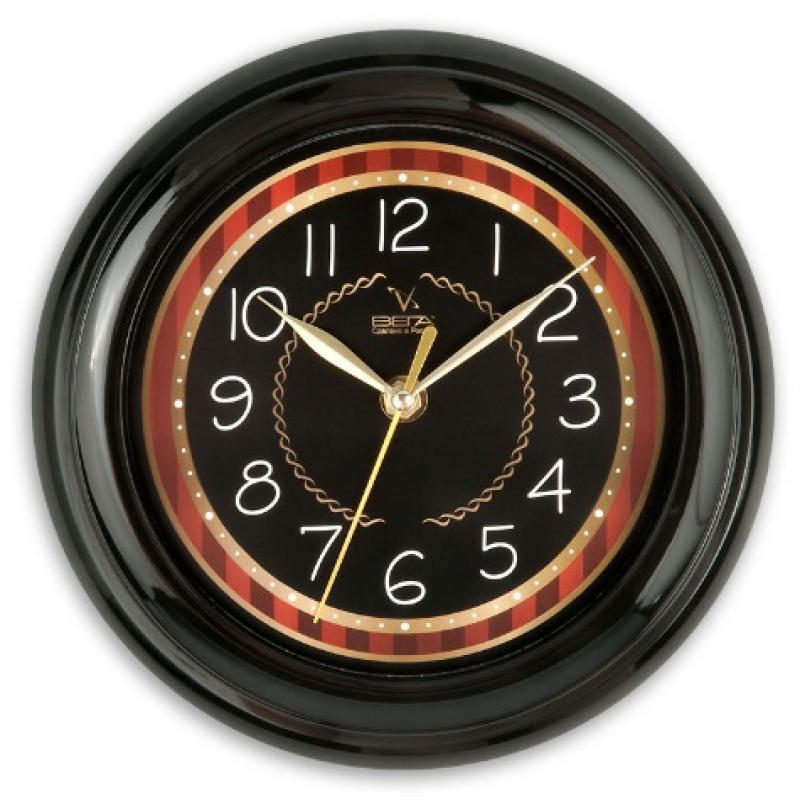 Часы настенные Вега Классика черная с бежевым кантомП6-6-91