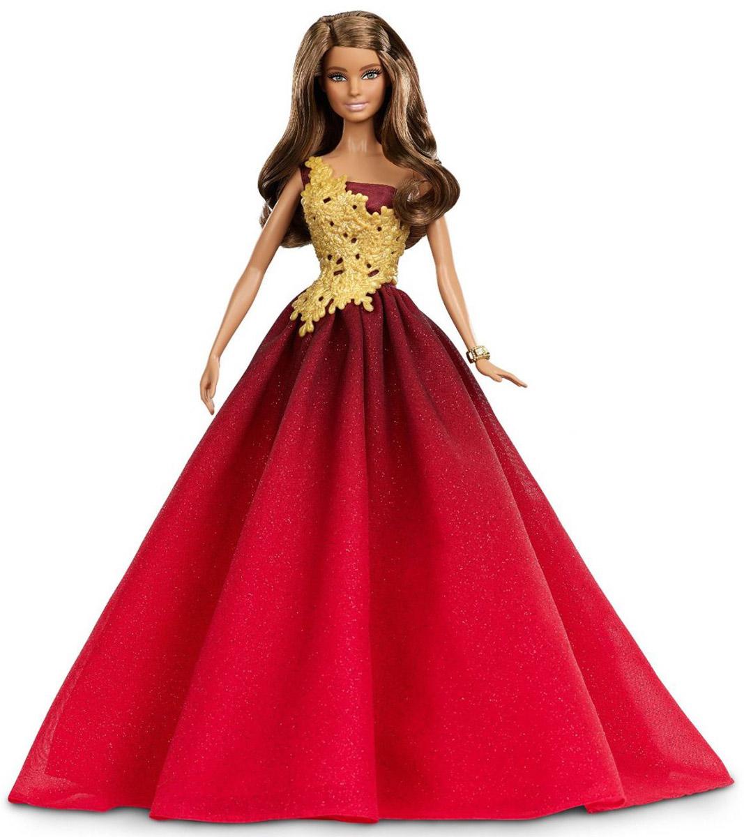 Barbie Кукла Праздничная цвет платья красныйDRD25Кукла Barbie Праздничная станет отличным подарком для вашей малышки. Куколка с длинными волосами одета в пластиковый блестящий топ и длинное красное платье с блестками. Стильный образ куклы дополнен золотистым браслетом. В этом наряде Барби стала настоящим воплощением гламура, сияние которого озарит все праздничные дни. Особый дизайн упаковки (снежный шар) сделает эту куклу идеальным подарком. Куклы, пожалуй, самые популярные игрушки в мире. Девочки обожают играть с ними, отправляясь в сказочную страну грез. Ваша малышка с удовольствием будет играть с куколкой, придумывая различные истории и устраивая модные показы.