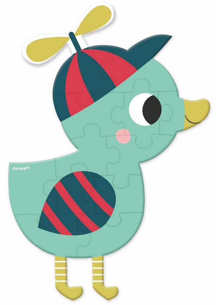 Janod Пазл для малышей Лесные друзья УтенокJ02852_утенокПазл для малышей Janod Лесные друзья. Утенок - отличный развивающий подарок вашему малышу! Теперь развиваться будет легко и весело! Собрав этот пазл, включающий в себя 12 элементов, вы получите картинку с изображением забавного утенка. Пазл научит ребенка усидчивости, умению доводить начатое дело до конца, поможет развить внимание, память, образное и логическое мышления, сенсорно-моторную координацию движения рук. Крупная и яркая форма собираемых элементов картинки способствуют развитию мелкой моторики, которая напрямую влияет на развитие речи и интеллектуальных способностей. В дальнейшем хорошая координация движений рук поможет ребенку легко овладеть письмом.