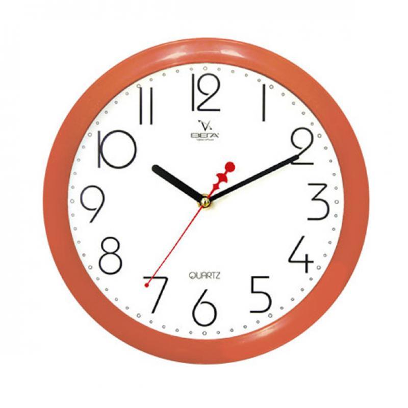 Часы настенные Вега Классика белая, цвет: оранжевыйП1-11/7-4