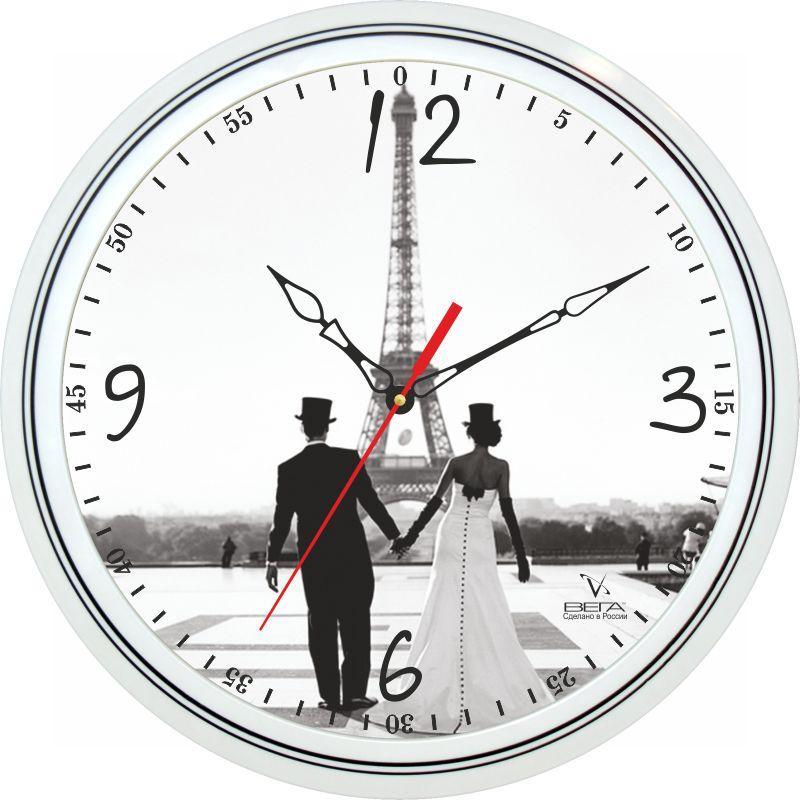 Часы настенные Вега Влюбленные в ПарижеП1-763/7-130