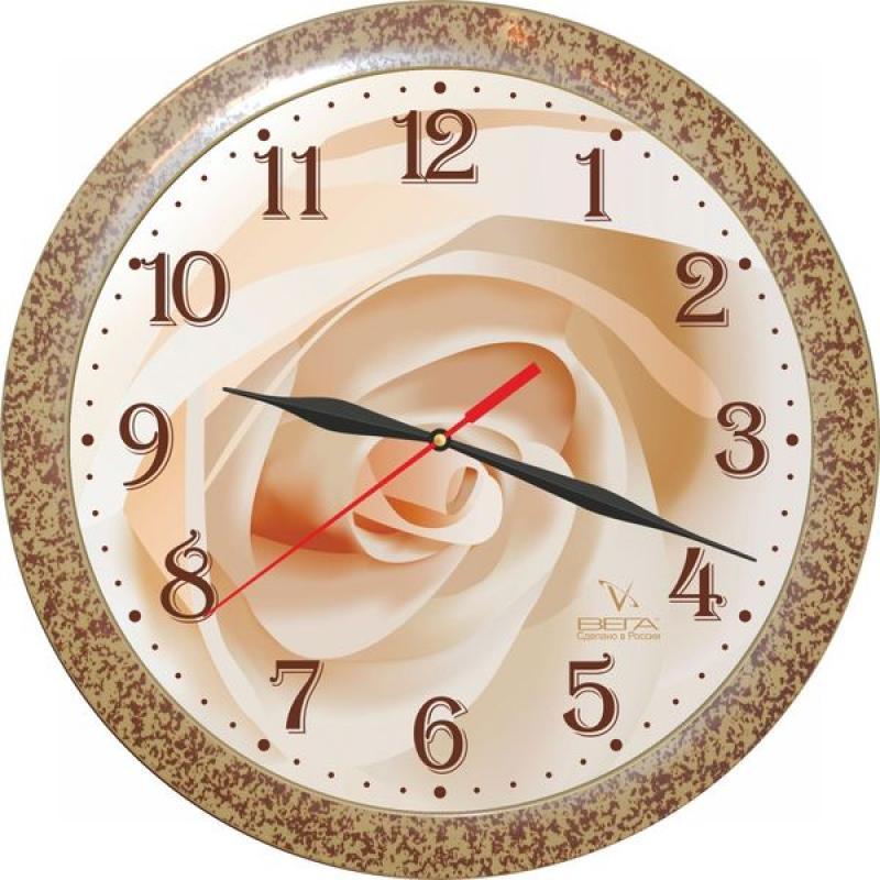 Часы настенные Вега Бежевая розаП1-1492/7-155