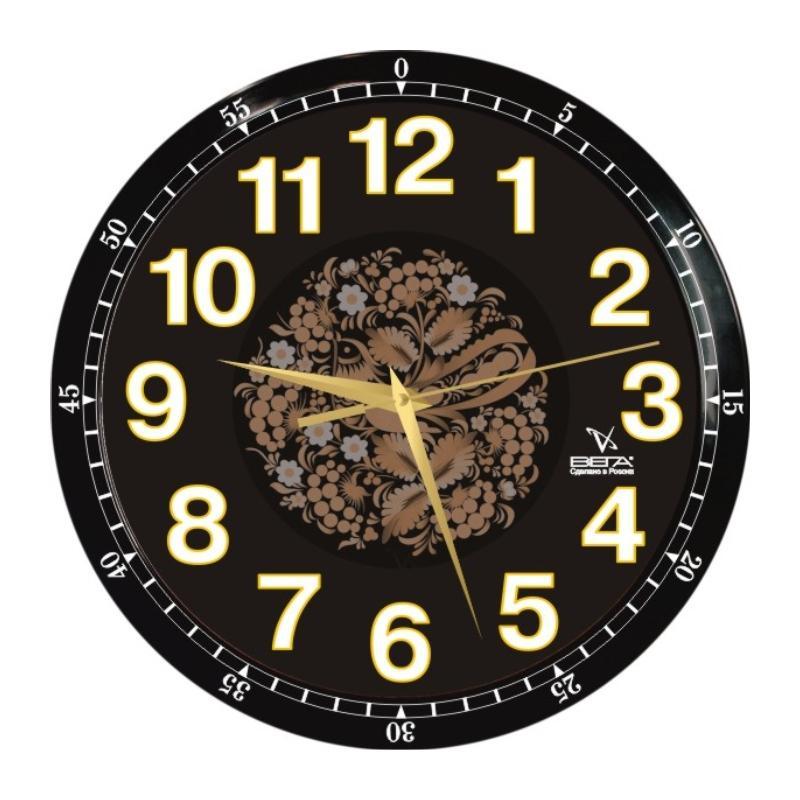 Часы настенные Вега Классика черная с узоромП1-6715/6-85