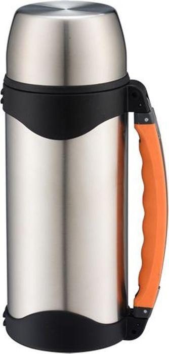 Термос Bekker Premium с широким горлом, 0,8 л. BK-4110BK-41100,8л, двойные стенки с вакуумом, пробка винтовая, доп. пластиковая чашка, ручка пластиковая, ремень. Состав: нержавеющая сталь.