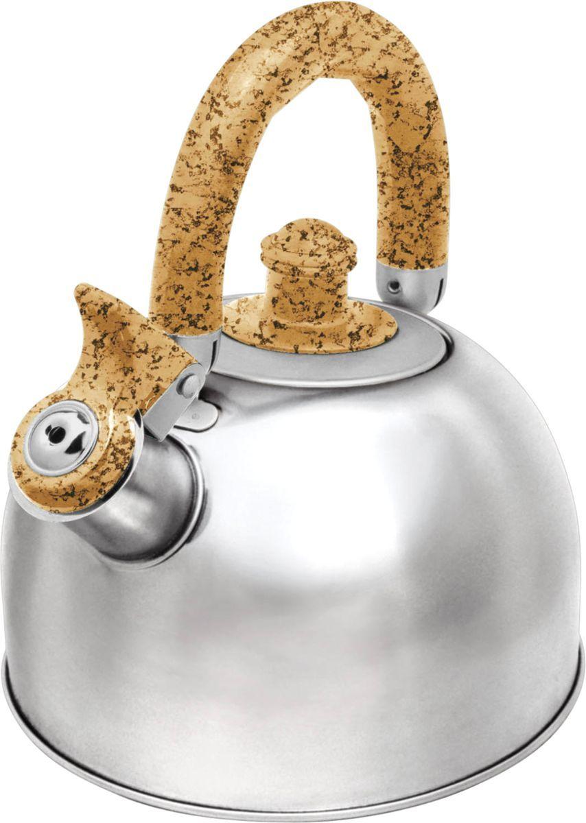 Чайник Bekker, 2,5 л. BK-S307MBK-S307M2,5л со свистком, крышка из нержав. стали, ручка пластм под мрамор подвижная, капсулир. дно, поверх. зерк. Состав: нержав. сталь.