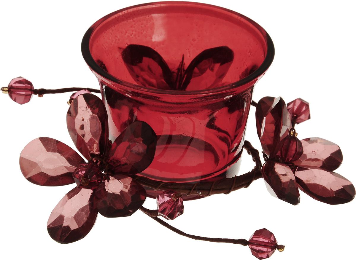 Подсвечник Lovemark, цвет: красный. 5A2017 R5A2017 RПодсвечник Lovemark представляет собой стеклянную емкость для чайной свечи, оформленную изысканным декоративным элементом в виде плетеной веточки с цветами. Такой подсвечник элегантно оформит интерьер вашего дома. Мерцание свечи создаст атмосферу романтики и уюта. Диаметр емкости (по верхнему краю): 6,5 см. Высота емкости: 5 см.