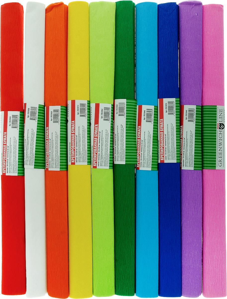 Greenwich Line Набор крепированной бумаги Ассорти 50 х 250 см 10 рулоновCR25090Набор крепированной бумаги Greenwich Line Ассорти - отличный вариант для воплощения творческих идей не только детей, но и взрослых. Набор состоит из 10 рулонов разноцветной бумаги, каждый рулон с плотностью 32 г/м2 прекрасно подходит для упаковки хрупких изделий, при оформлении букетов и создании сложных цветовых композиций, для декорирования и других оформительских работ. Насыщенный цвет бумаги сделает поделки по-настоящему яркими. Кроме того, набор Ассорти Greenwich Line поможет увлечь ребенка, развивая интерес к художественному творчеству, эстетический вкус и восприятие, увеличивая желание делать подарки своими руками, воспитывая самостоятельность и аккуратность в работе. Такая бумага поможет вашему ребенку раскрыть свои таланты.