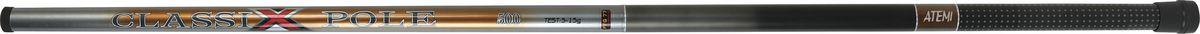 Удилище телескопическое Atemi Classix Pole, без колец, 4 м, 5-15 г205-05400Atemi Classix Pole - это хорошая удочка для начинающих рыболовов, обеспечивающая соотношение цены и качества. Стекловолокно, из которого изготовлено удилище, обеспечивает высокую прочность. Облегченный катушкодержатель и специфика колец позволяют добиться оптимального строя. Для крепления снасти на конце верхнего колена установлено колечко. На торце рукоятки установлен откручивающийся колпачок для технического обслуживания удочки.
