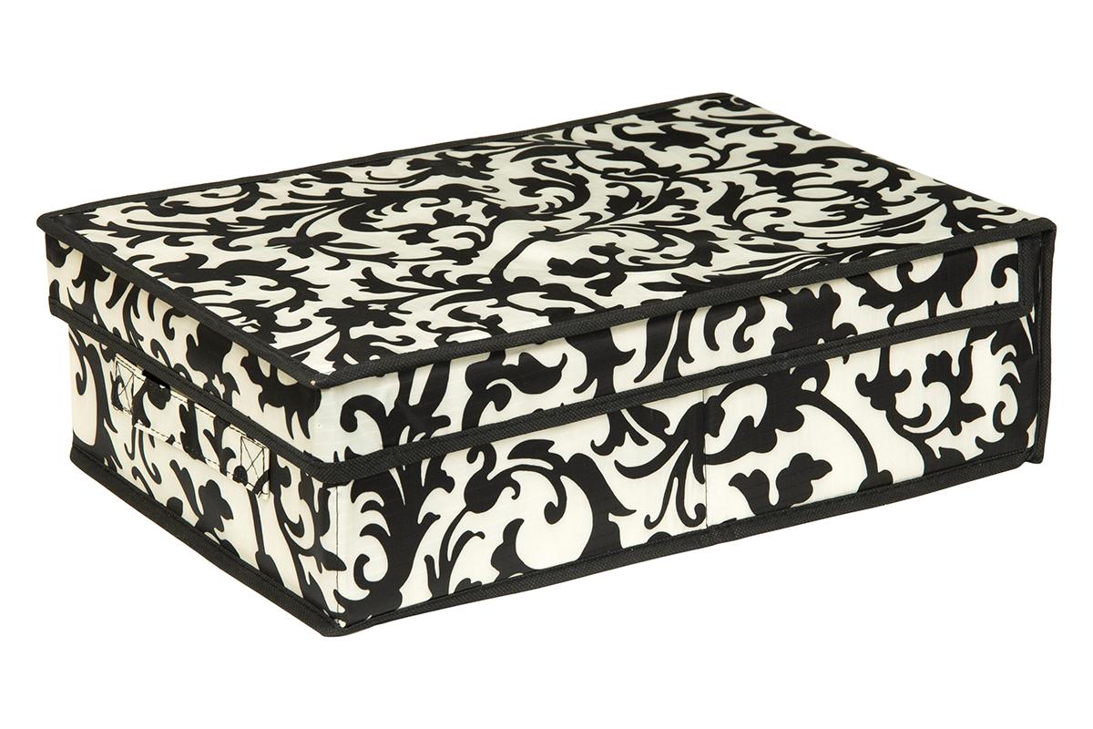 Кофр для хранения EL Casa Узор на серебре, 27 х 41 х 12 см370350Кофр для хранения EL Casa Узор на серебре выполнен из полиэстера, который обеспечивает естественную вентиляцию, отлично пропускает воздух, но не пропускает пыль. Благодаря специальным вставкам из картона кофр прекрасно держит форму. Изделие декорировано красивым монохромным узором и имеет оригинальный дизайн. Сбоку расположена ручка. Кофр подходит для хранения вещей, аксессуаров, книг, бумаг, лекарств, CD/DVD дисков. Легко складывается и раскладывается. Он поможет хранить вещи компактно и удобно. Подходит для размещения в шкафу, комоде.