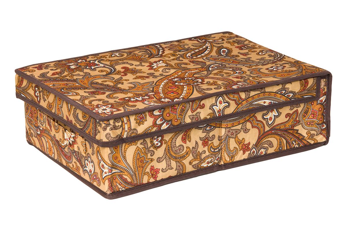 Кофр для хранения EL Casa Перо павлина, цвет: коричневый, 27 х 41 х 12 см370356Кофр для хранения EL Casa Перо павлина выполнен из полиэстера, который обеспечивает естественную вентиляцию, отлично пропускает воздух, но не пропускает пыль. Благодаря специальным вставкам из картона кофр прекрасно держит форму. Изделие декорировано красочным узором и имеет оригинальный дизайн. Сбоку расположена ручка. Кофр подходит для хранения вещей, аксессуаров, книг, бумаг, лекарств, CD/DVD дисков. Легко складывается и раскладывается. Он поможет хранить вещи компактно и удобно. Подходит для размещения в шкафу, комоде.