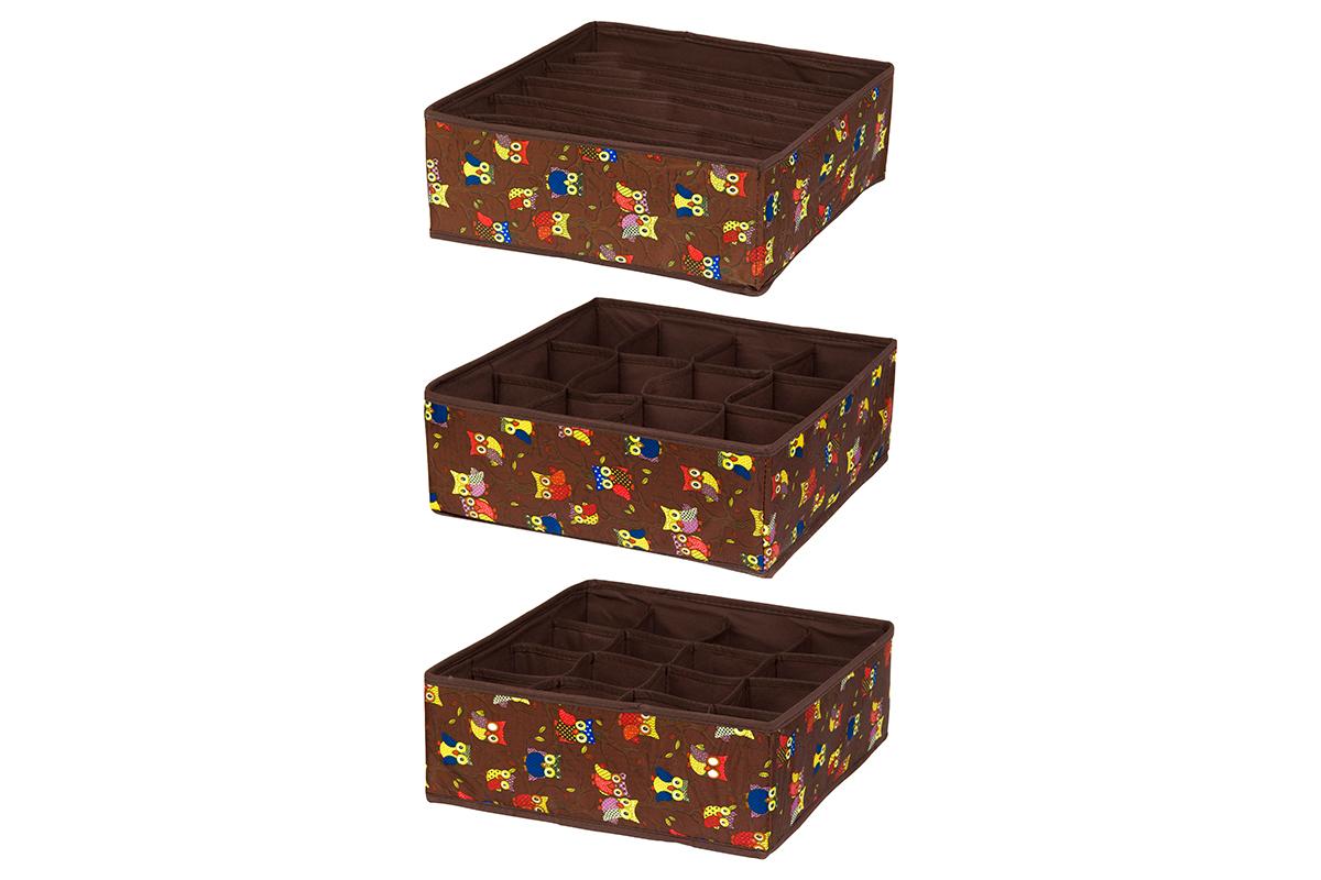 Набор кофров для хранения EL Casa Совы на ветках, цвет: коричневый, 32 х 32 х 12 см, 3 шт370501Набор EL Casa Совы на ветках состоит из трех кофров для хранения. Кофры выполнены из полиэстера, который обеспечивает естественную вентиляцию, отлично пропускает воздух, но не пропускает пыль. Благодаря специальным вставкам из картона кофры прекрасно держат форму. Все кофры содержат разное количество секций. Первый кофр содержит 16 секций для хранения носков и трусов, второй - 12 секций, а третий - 6 продолговатых секций, которые идеальны для бюстгальтеров. Для удобства использования кофры не имеют крышки. Изделия имеют оригинальный дизайн с красочным изображением забавных сов. Легко складываются и раскладываются. Они помогут хранить вещи компактно и удобно. Подходят для размещения в шкафу, комоде.