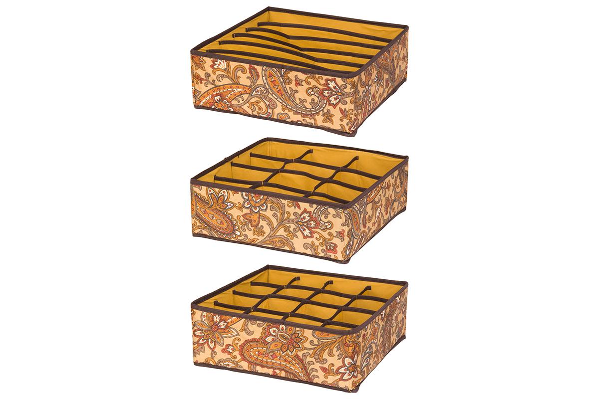 """Набор кофров для хранения EL Casa """"Перо павлина"""", цвет: коричневый, 32 х 32 х 12 см, 3 шт 370505"""