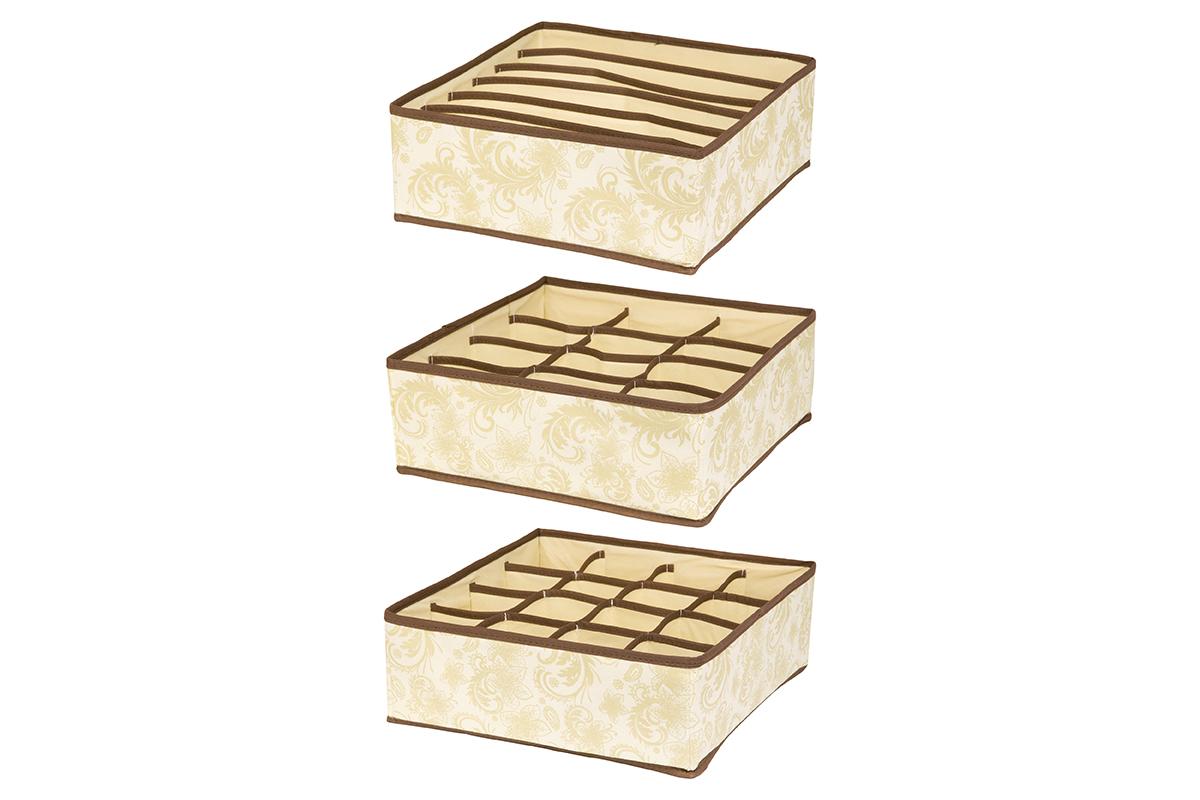 Набор кофров для хранения EL Casa Узор, 32 х 32 х 12 см, 3 шт370511Набор EL Casa Узор состоит из трех кофров для хранения. Кофры выполнены из качественного нетканого материала, который обеспечивает естественную вентиляцию, отлично пропускает воздух, но не пропускает пыль. Благодаря специальным вставкам из картона кофры прекрасно держат форму. Все кофры содержат разное количество секций. Первый кофр содержит 16 секций для хранения носков и трусов, второй - 12 секций, а третий - 6 продолговатых секций, которые идеальны для бюстгальтеров. Для удобства использования кофры не имеют крышки. Изделия декорированы изысканным цветочным узором и имеют оригинальный дизайн. Легко складываются и раскладываются. Они помогут хранить вещи компактно и удобно. Подходят для размещения в шкафу, комоде.