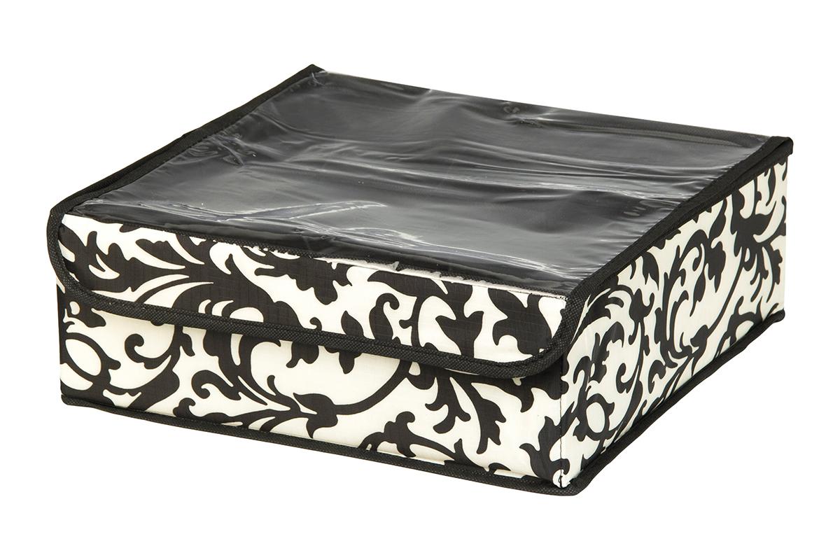 Кофр для хранения EL Casa Узор на серебре, 8 секций, 32 х 32 х 12 см370514Кофр для хранения EL Casa Узор на серебре выполнен из качественного полиэстера, который обеспечивает естественную вентиляцию, отлично пропускает воздух, но не пропускает пыль. Вставки из плотного картона хорошо держат форму. Изделие декорировано изысканным монохромным узором и имеет оригинальный дизайн. Кофр с 8 секциями подходит для хранения нижнего белья, колготок, носков и другой одежды. Прозрачная крышка на липучке, выполненная из ПВХ, позволяет видеть содержимое кофра, не открывая его. Изделие поможет хранить вещи компактно и удобно. Подходит для размещения в шкафу, комоде.