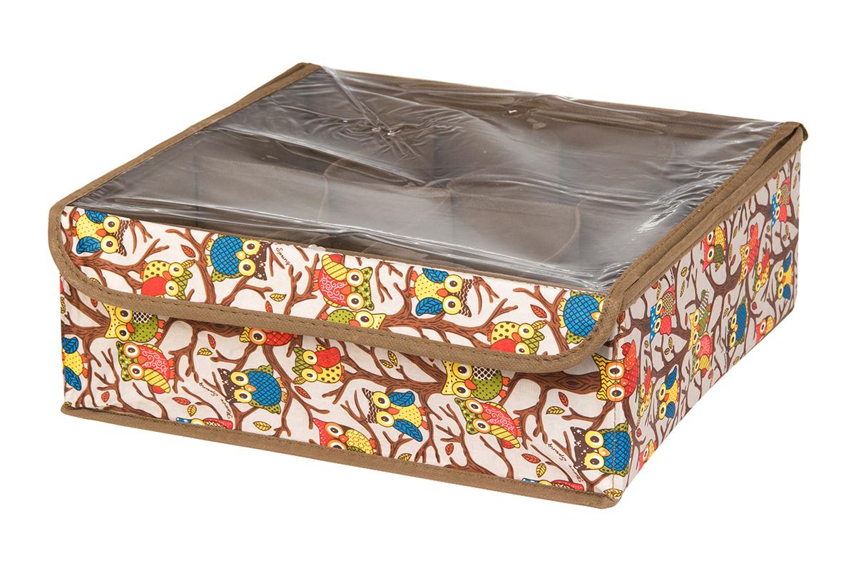 Кофр для хранения EL Casa Совы на ветках, цвет: серебристый, 8 секций, 32 х 32 х 12 см370515Кофр для хранения EL Casa Совы на ветках выполнен из полиэстера, который обеспечивает естественную вентиляцию, отлично пропускает воздух, но не пропускает пыль. Вставки из плотного картона хорошо держат форму. Кофр имеет оригинальный дизайн, он декорирован красочным изображением забавных сов. Кофр с 8 секциями подходит для хранения нижнего белья, колготок, носков и другой одежды. Прозрачная крышка на липучке, выполненная из ПВХ, позволяет видеть содержимое кофра, не открывая его. Такой органайзер поможет хранить вещи компактно и удобно. Подходит для размещения в шкафу, комоде.