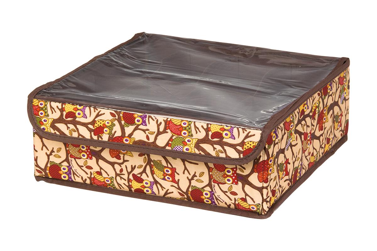 Кофр для хранения EL Casa Совы на ветках, цвет: бежевый, 8 секций, 32 х 32 х 12 см370517Кофр для хранения EL Casa Совы на ветках выполнен из полиэстера, который обеспечивает естественную вентиляцию, отлично пропускает воздух, но не пропускает пыль. Вставки из плотного картона хорошо держат форму. Кофр имеет оригинальный дизайн, он декорирован красочным изображением забавных сов. Кофр с 8 секциями подходит для хранения нижнего белья, колготок, носков и другой одежды. Прозрачная крышка на липучке, выполненная из ПВХ, позволяет видеть содержимое кофра, не открывая его. Такой органайзер поможет хранить вещи компактно и удобно. Подходит для размещения в шкафу, комоде.