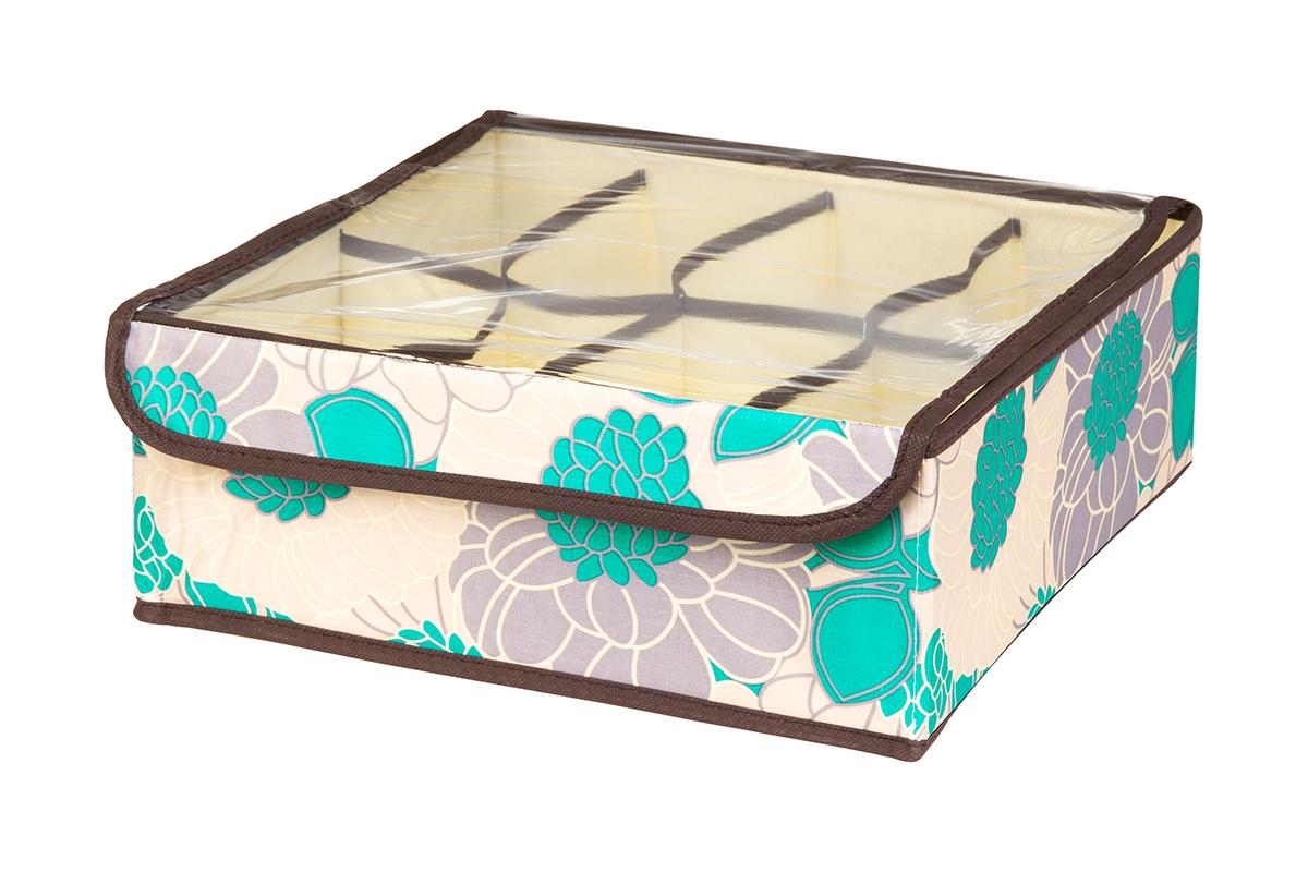 Кофр для хранения EL Casa Цветочное поле, 8 секций, 32 х 32 х 12 см370519Кофр для хранения EL Casa Цветочное поле выполнен из качественного полиэстера, который обеспечивает естественную вентиляцию, отлично пропускает воздух, но не пропускает пыль. Вставки из плотного картона хорошо держат форму. Изделие декорировано красивым цветочным рисунком и имеет оригинальный дизайн. Кофр с 8 секциями подходит для хранения нижнего белья, колготок, носков и другой одежды. Прозрачная крышка на липучке, выполненная из ПВХ, позволяет видеть содержимое кофра, не открывая его. Изделие поможет хранить вещи компактно и удобно. Подходит для размещения в шкафу, комоде.