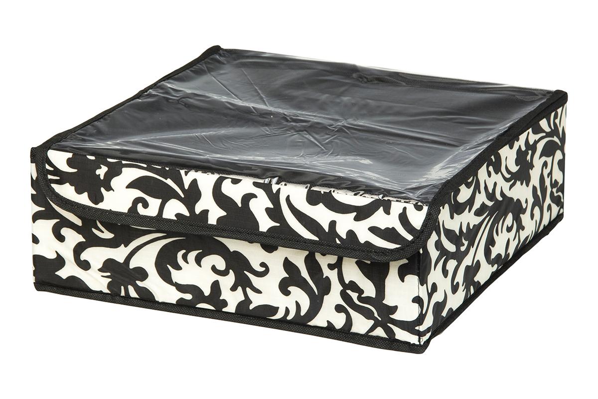Кофр для хранения EL Casa Узор на серебре, 12 секций, 32 х 32 х 12 см370529Кофр для хранения EL Casa Узор на серебре выполнен из качественного полиэстера, который обеспечивает естественную вентиляцию, отлично пропускает воздух, но не пропускает пыль. Вставки из плотного картона хорошо держат форму. Изделие декорировано изысканным монохромным узором и имеет оригинальный дизайн. Кофр с 12 секциями подходит для хранения нижнего белья, колготок, носков и другой одежды. Прозрачная крышка на липучке, выполненная из ПВХ, позволяет видеть содержимое кофра, не открывая его. Изделие поможет хранить вещи компактно и удобно. Подходит для размещения в шкафу, комоде.