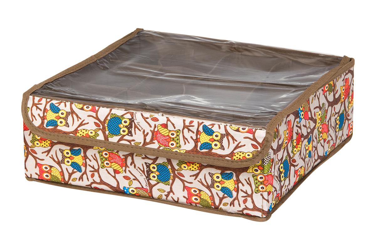 Кофр для хранения EL Casa Совы на ветках, цвет: серебристый, 12 секций, 32 х 32 х 12 см370530Кофр для хранения EL Casa Совы на ветках выполнен из полиэстера, который обеспечивает естественную вентиляцию, отлично пропускает воздух, но не пропускает пыль. Вставки из плотного картона хорошо держат форму. Кофр имеет оригинальный дизайн, он декорирован красочным изображением забавных сов. Кофр с 12 секциями подходит для хранения нижнего белья, колготок, носков и другой одежды. Прозрачная крышка на липучке, выполненная из ПВХ, позволяет видеть содержимое кофра, не открывая его. Такой органайзер поможет хранить вещи компактно и удобно. Подходит для размещения в шкафу, комоде.