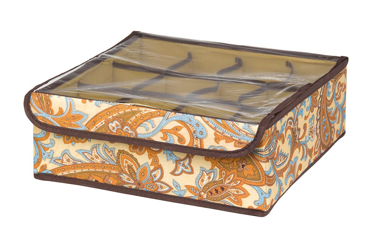 Кофр для хранения EL Casa Перо павлина, цвет: бежевый, 12 секций, 32 х 32 х 12 см370536Кофр для хранения EL Casa Перо павлина выполнен из полиэстера, который обеспечивает естественную вентиляцию, отлично пропускает воздух, но не пропускает пыль. Вставки из плотного картона хорошо держат форму. Изделие декорировано красочным узором и имеет оригинальный дизайн. Кофр с 12 секциями подходит для хранения нижнего белья, колготок, носков и другой одежды. Прозрачная крышка на липучке, выполненная из ПВХ, позволяет видеть содержимое кофра, не открывая его. Изделие поможет хранить вещи компактно и удобно. Подходит для размещения в шкафу, комоде.