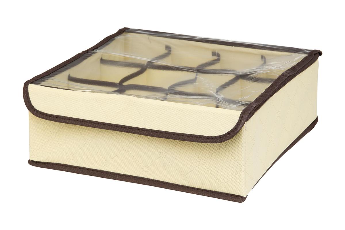 Кофр для хранения EL Casa Геометрия стиля, 12 секций, 32 х 32 х 12 см370540Кофр для хранения EL Casa Геометрия стиля выполнен из качественного нетканого материала, который обеспечивает естественную вентиляцию, отлично пропускает воздух, но не пропускает пыль. Вставки из плотного картона хорошо держат форму. Изделие декорировано геометрическим узором и имеет оригинальный дизайн. Кофр с 12 секциями подходит для хранения нижнего белья, колготок, носков и другой одежды. Прозрачная крышка на липучке, выполненная из ПВХ, позволяет видеть содержимое кофра, не открывая его. Изделие поможет хранить вещи компактно и удобно. Подходит для размещения в шкафу, комоде.
