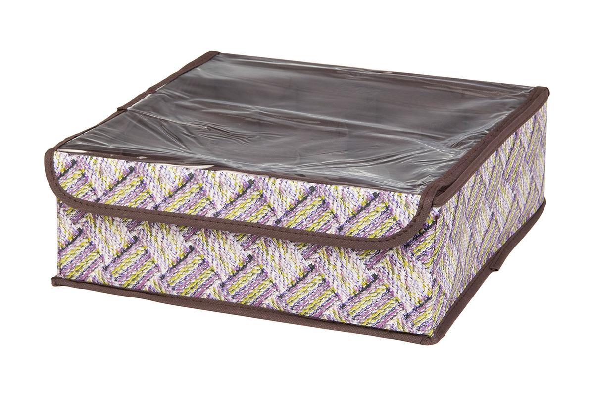 Кофр для хранения EL Casa Плетенка, 12 секций, 32 х 32 х 12 см370543Кофр для хранения EL Casa Плетенка выполнен из качественного нетканого материала, который обеспечивает естественную вентиляцию, отлично пропускает воздух, но не пропускает пыль. Вставки из плотного картона хорошо держат форму. Изделие декорировано плетеным узором и имеет оригинальный дизайн. Кофр с 12 секциями подходит для хранения нижнего белья, колготок, носков и другой одежды. Прозрачная крышка на липучке, выполненная из ПВХ, позволяет видеть содержимое кофра, не открывая его. Изделие поможет хранить вещи компактно и удобно. Подходит для размещения в шкафу, комоде.