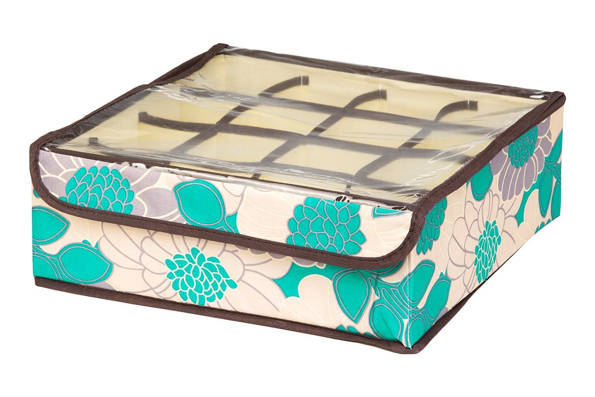Кофр для хранения EL Casa Цветочное поле, 16 секций, 32 х 32 х 12 см370549Кофр для хранения EL Casa Цветочное поле выполнен из качественного полиэстера, который обеспечивает естественную вентиляцию, отлично пропускает воздух, но не пропускает пыль. Вставки из плотного картона хорошо держат форму. Изделие декорировано красивым цветочным рисунком и имеет оригинальный дизайн. Кофр с 16 секциями подходит для хранения нижнего белья, колготок, носков и другой одежды. Прозрачная крышка на липучке, выполненная из ПВХ, позволяет видеть содержимое кофра, не открывая его. Изделие поможет хранить вещи компактно и удобно. Подходит для размещения в шкафу, комоде.