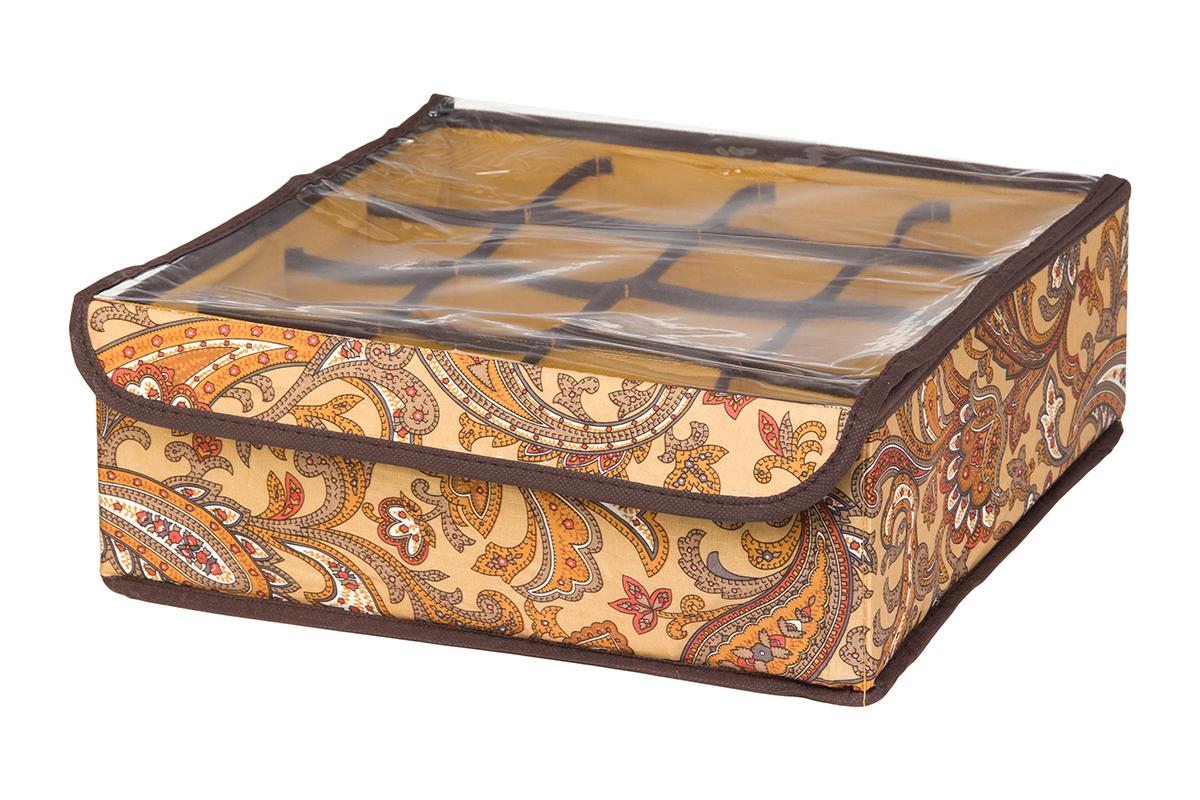 Кофр для хранения EL Casa Перо павлина, цвет: коричневый, 16 секций, 32 х 32 х 12 см370550Кофр для хранения EL Casa Перо павлина выполнен из полиэстера, который обеспечивает естественную вентиляцию, отлично пропускает воздух, но не пропускает пыль. Вставки из плотного картона хорошо держат форму. Изделие декорировано красочным узором и имеет оригинальный дизайн. Кофр с 16 секциями подходит для хранения нижнего белья, колготок, носков и другой одежды. Прозрачная крышка на липучке, выполненная из ПВХ, позволяет видеть содержимое кофра, не открывая его. Изделие поможет хранить вещи компактно и удобно. Подходит для размещения в шкафу, комоде.