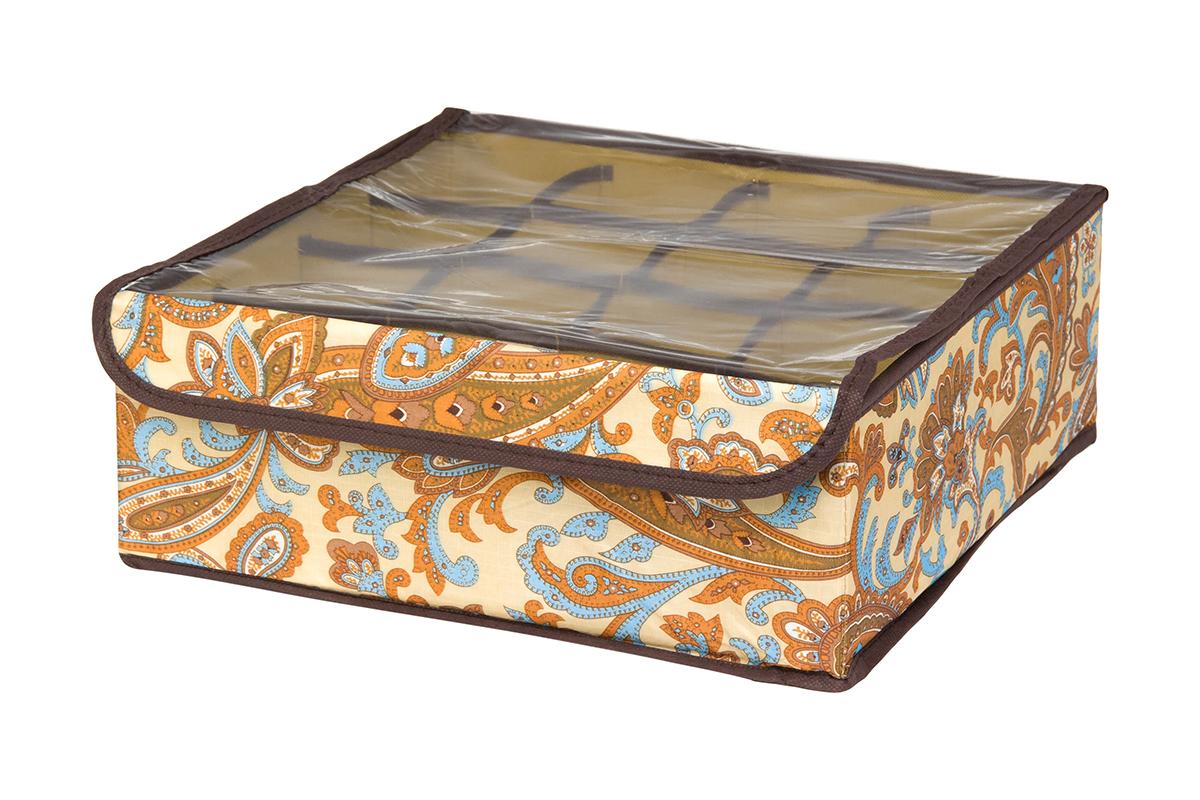 Кофр для хранения EL Casa Перо павлина, цвет: бежевый, 16 секций, 32 х 32 х 12 см370551Кофр для хранения EL Casa Перо павлина выполнен из полиэстера, который обеспечивает естественную вентиляцию, отлично пропускает воздух, но не пропускает пыль. Вставки из плотного картона хорошо держат форму. Изделие декорировано красочным узором и имеет оригинальный дизайн. Кофр с 16 секциями подходит для хранения нижнего белья, колготок, носков и другой одежды. Прозрачная крышка на липучке, выполненная из ПВХ, позволяет видеть содержимое кофра, не открывая его. Изделие поможет хранить вещи компактно и удобно. Подходит для размещения в шкафу, комоде.