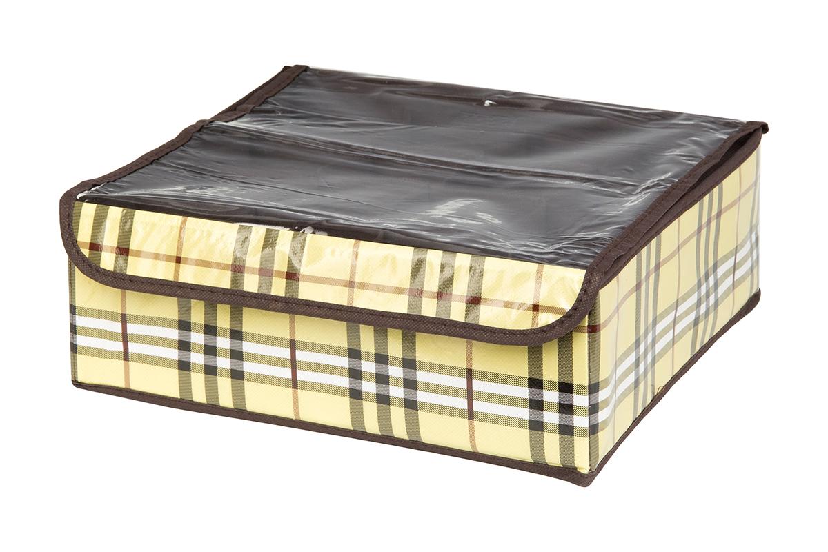 Кофр для хранения EL Casa Шотландка, 16 секций, 32 х 32 х 12 см370554Кофр для хранения EL Casa Шотландка выполнен из качественного полиэстера, который обеспечивает естественную вентиляцию, отлично пропускает воздух, но не пропускает пыль. Вставки из плотного картона хорошо держат форму. Изделие декорировано рисунком в клетку и имеет оригинальный дизайн. Кофр с 16 секциями подходит для хранения нижнего белья, колготок, носков и другой одежды. Прозрачная крышка на липучке, выполненная из ПВХ, позволяет видеть содержимое кофра, не открывая его. Изделие поможет хранить вещи компактно и удобно. Подходит для размещения в шкафу, комоде.