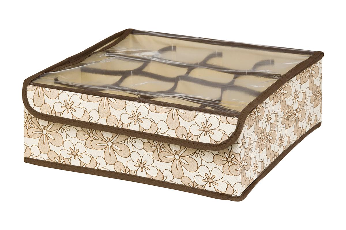 Кофр для хранения EL Casa Цветочное изобилие, 16 секций, 32 х 32 х 12 см370557Кофр для хранения EL Casa Европа выполнен из качественного нетканого волокна, которое обеспечивает естественную вентиляцию, отлично пропускает воздух, но не пропускает пыль. Вставки из плотного картона хорошо держат форму. Изделие декорировано красочным рисунком и имеет оригинальный дизайн. Кофр с 16 секциями подходит для хранения нижнего белья, колготок, носков и другой одежды. Прозрачная крышка на липучке, выполненная из ПВХ, позволяет видеть содержимое кофра, не открывая его. Изделие поможет хранить вещи компактно и удобно. Подходит для размещения в шкафу, комоде.