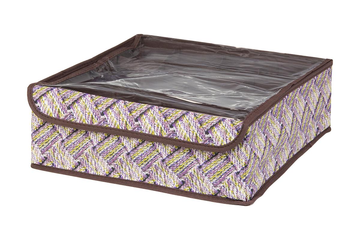 Кофр для хранения EL Casa Плетенка, 16 секций, 32 х 32 х 12 см370558Кофр для хранения EL Casa Плетенка выполнен из качественного нетканого волокна, которое обеспечивает естественную вентиляцию, отлично пропускает воздух, но не пропускает пыль. Вставки из плотного картона хорошо держат форму. Изделие декорировано красочным рисунком и имеет оригинальный дизайн. Кофр с 16 секциями подходит для хранения нижнего белья, колготок, носков и другой одежды. Прозрачная крышка на липучке, выполненная из ПВХ, позволяет видеть содержимое кофра, не открывая его. Изделие поможет хранить вещи компактно и удобно. Подходит для размещения в шкафу, комоде.