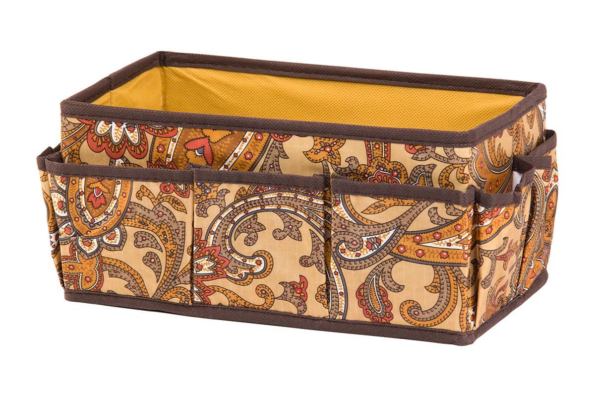 Органайзер для мелочей EL Casa Перо павлина, цвет: коричневый, 7 карманов, 25 х 15 х 12 см370610Органайзер для мелочей EL Casa Перо павлина выполнен из полиэстера, декорированного красивым орнаментом. Вставки из плотного картона хорошо держат форму. Удобный и компактный органайзер с 7 карманами с легкостью вместит все необходимые баночки и тюбики. Большое основное отделение можно использовать для кремов, парфюмерии и лаков. Наличие различных кармашков делает возможным хранение декоративной косметики и аксессуаров.