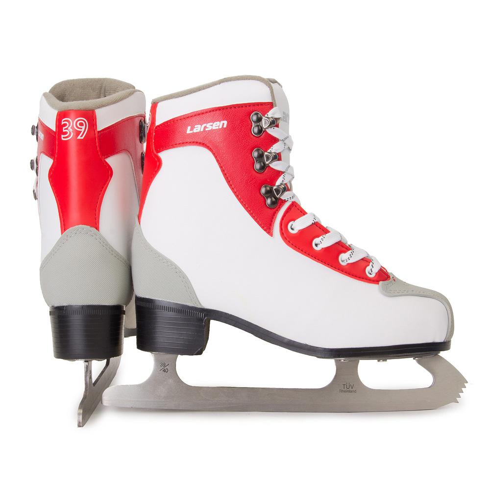 Коньки фигурные женские Larsen Rental Lady, цвет: белый, серый, красный. 326857. Размер 36326857Температура использования: до -20 С Удобная колодка: + Удобный язычок анатомической формы: + Специальная усиленная подошва: + Усиление пятки и носка резиновой накладкой: + Металлические клепки для шнуровки: + Предназначены для проката: + Ботинок: поливинилхлорид 1,4 мм, резина Стелька: материал EVA Лезвие: нержавеющая сталь
