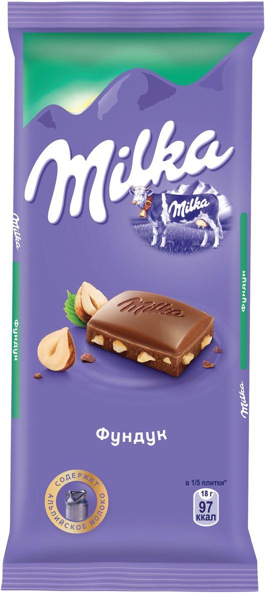 Milka шоколад молочный с фундуком, 90 г 4001815, 4021322