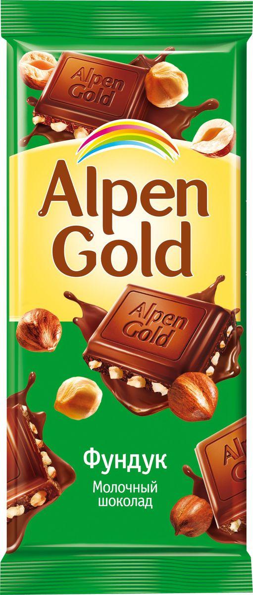 Alpen Gold шоколад молочный с дробленым фундуком, 90 г 646551, 646899, 645626, 4008442, 4012139