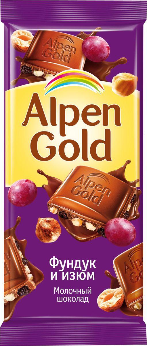 Alpen Gold шоколад молочный с фундуком и изюмом, 90 г 646553, 4008819, 4012140