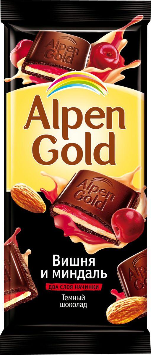 Alpen Gold шоколад темный с миндально-вишневой начинкой, 90 г