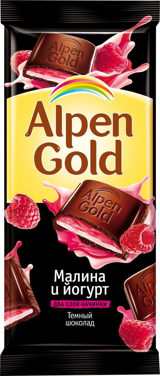 Alpen Gold шоколад темный с малиново-йогуртовой начинкой, 90 г