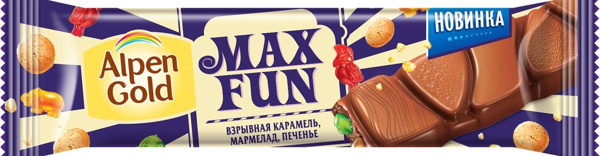 Alpen Gold Max Fun шоколад молочный со взрывной карамелью, мармеладом и печеньем, 38 г