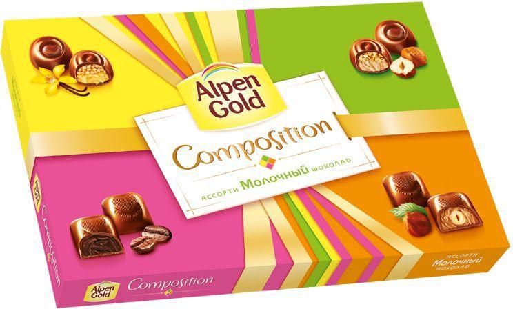 Alpen Gold Composition конфеты шоколадные ассорти, 183 г4012002Набор Alpen Gold Composition ассорти представляет собой набор из четырех видов традиционных конфет. Это конфеты с шоколадной начинкой со вкусом капучино, с ванильной начинкой и воздушным рисом, с цельным фундуком в кремовой начинке, с дробленым фундуком в кремовой начинке. Помещены в картонную коробку с пластиковым разделителем внутри. В коробке по пять конфет каждого вида.