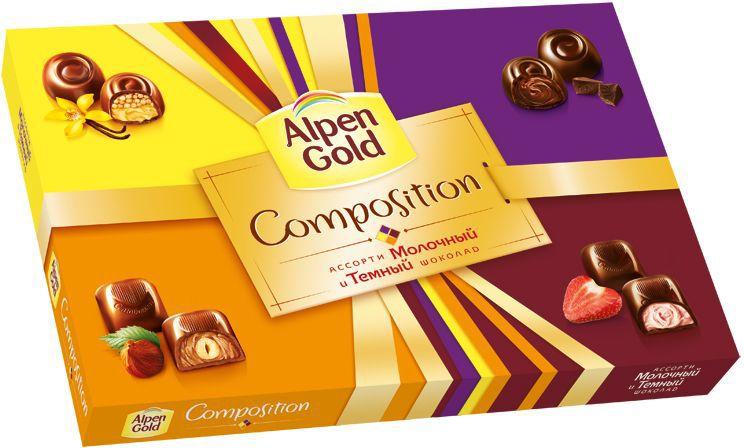 Alpen Gold Composition конфеты шоколадные ассорти, 190 г 4012005