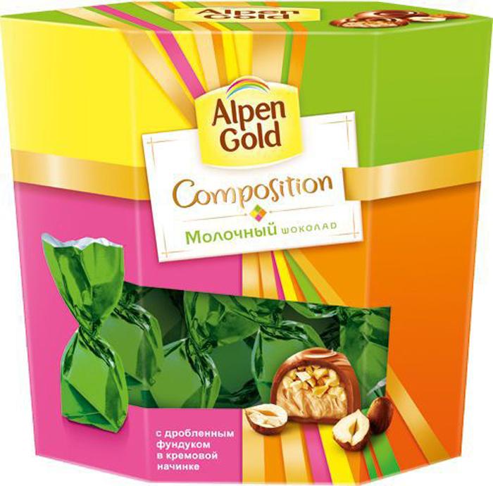 Alpen Gold Composition конфеты из молочного шоколада с дробленым фундуком, 145г4012248Набор Alpen Gold Composition представляет собой традиционные конфеты Альпен Голд с дроблёным фундуком и воздужной сливочной начинкой. Помещены в картонную коробку и упакованы каждая в яркую персональную обёртку.