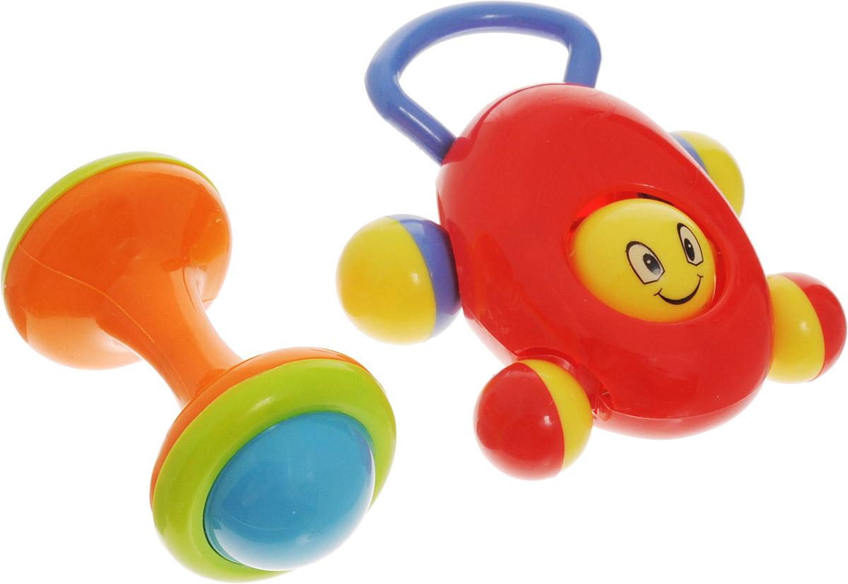 Ути-Пути Набор погремушек цвет красный оранжевый 2 шт44247_красныйНабор погремушек Ути-пути состоит из двух ярких игрушек. Оранжевая погремушка выполнена в форме гантельки с гремящими элементами внутри. Красная погремушка изготовлена в виде маленькой машинки. Её можно не только трясти, но и катать по полу за удобную ручку. Погремушки Ути-пути учат малыша взаимодействовать с окружающим миром, знакомят со свойствами разных предметов, помогают развивать основные рефлексы: хватание, слух, координацию, зрение.
