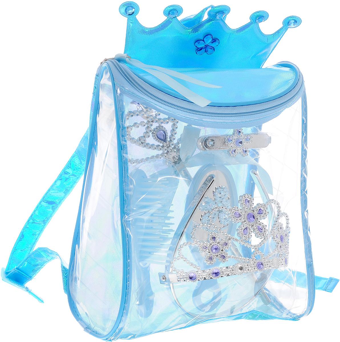 Boley Игровой набор Fantasy Girls Рюкзачок с аксессуарами цвет голубой82442_голубойИгровой набор Boley Fantasy Girls - станет отличным подарком к любому празднику для вашей маленькой принцессы. Набор содержит расческу, зеркало, две заколки, корону на ободке и волшебную палочку. Все элементы набора выполнены из высококачественных, экологически чистых материалов, совершенно безопасных для ребенка. Украшения выглядят ярко и очень эффектно. Набор упакован в замечательный прозрачный рюкзачок. Рюкзак содержит одно отделение и закрывается на клапан с молнией. Верхняя часть рюкзачка украшена мягкой короной с крупными стразами. Девочка может носить рюкзак за ручку или одевать на спину. Лямки можно регулировать по длине. С таким набором ваша малышка почувствует себя настоящей принцессой!