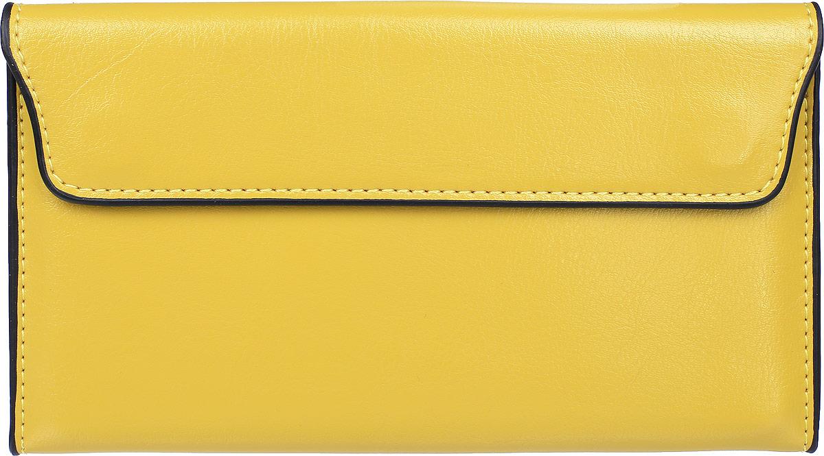 Кошелек женский Cheribags, цвет: лимонный. 04K-8019-1304K-8019-13Кошелек Cheribags выполнен из натуральной кожи зернистой текстуры. Изделие закрывается клапаном на магнит. Внутри расположено три отделения для купюр и съемная вставка с шестью прорезными карманами, один из которых с сетчатым окошком.