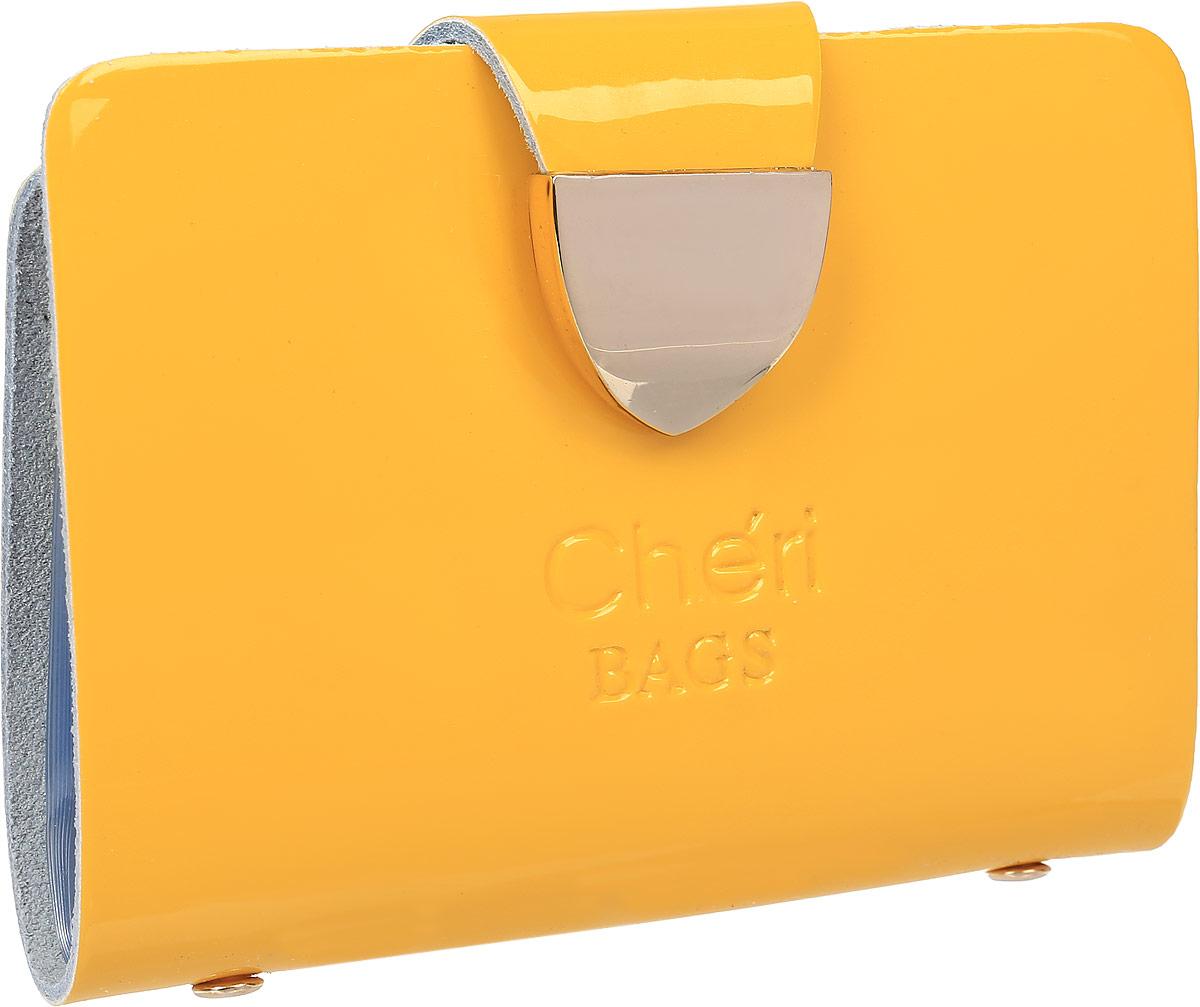 Визитница женская Cheribags, цвет: желтый. V-0482-13V-0482-13Визитница Cheribags выполнена из натуральной лаковой кожи и оформлена тисненой надписью с названием бренда. Внутри расположен блок с 26 файлами для визитных и дисконтных карт. Изделие застегивается хлястиком на кнопку.