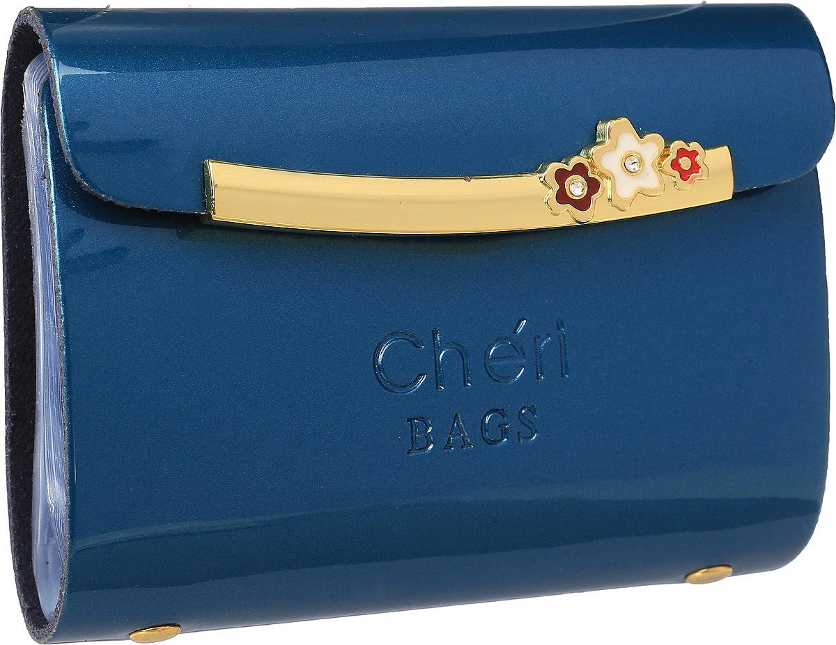Визитница женская Cheribags, цвет: морской волны. V-0494-15V-0494-15Визитница Cheribags выполнена из натуральной лаковой кожи и оформлена тисненой надписью с названием бренда. Внутри расположен блок с 26 файлами для визитных и дисконтных карт. Изделие застегивается клапаном на кнопку.