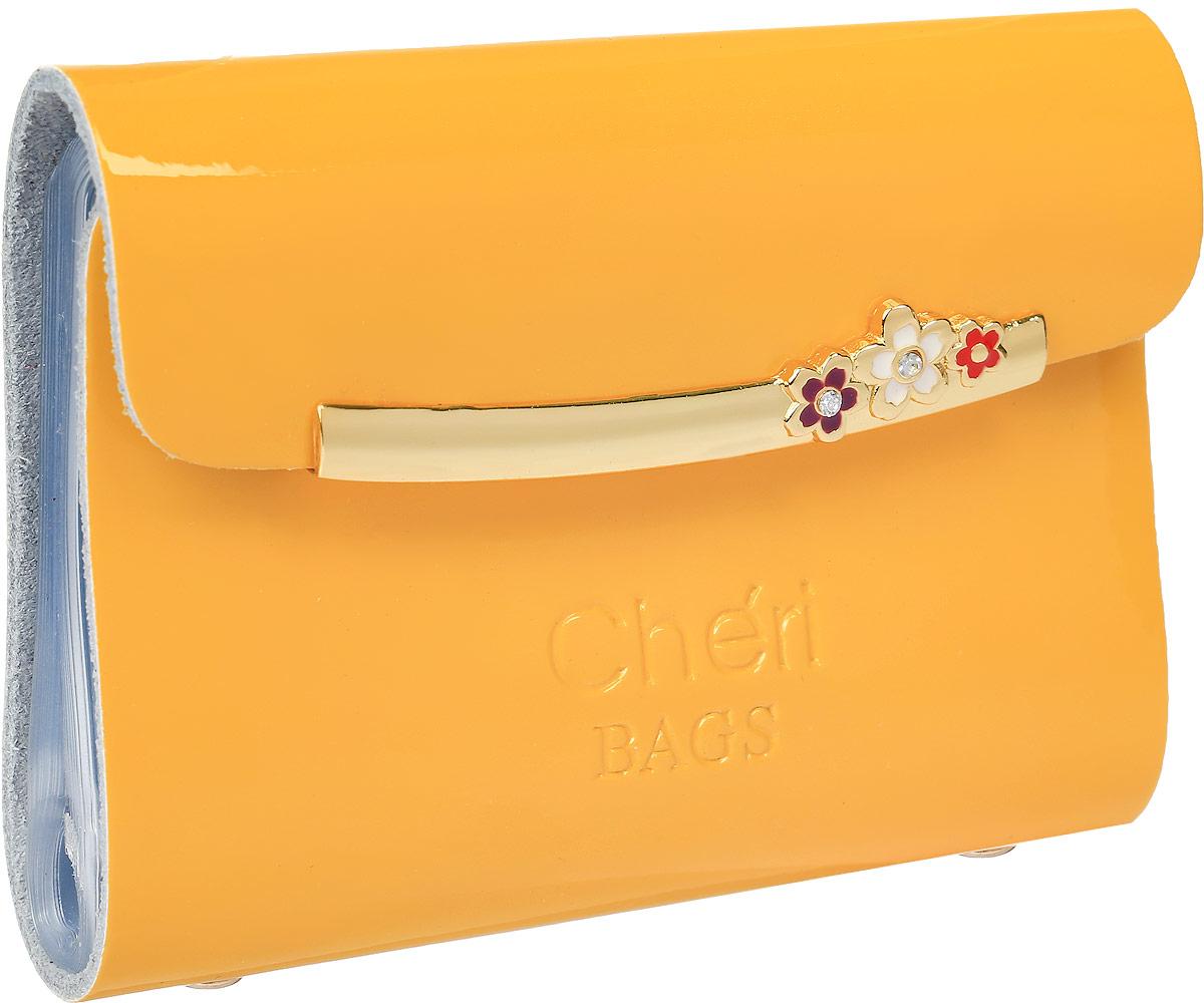 Визитница женская Cheribags, цвет: желтый. V-0494-13V-0494-13Визитница Cheribags выполнена из натуральной лаковой кожи и оформлена тисненой надписью с названием бренда. Внутри расположен блок с 26 файлами для визитных и дисконтных карт. Изделие застегивается клапаном на кнопку.